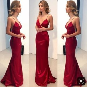 BACKLESS RED FORMAL PROM DRESS